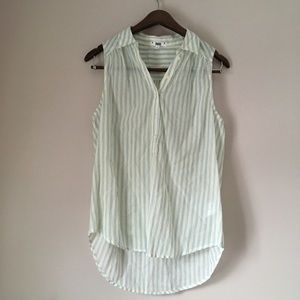 PAIGE Striped Button Down Collared Tank Top